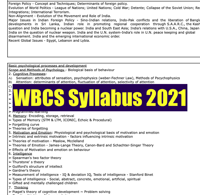 WBCS Syllabus 2021 Prelims Mains Download PDF Exam Pattern