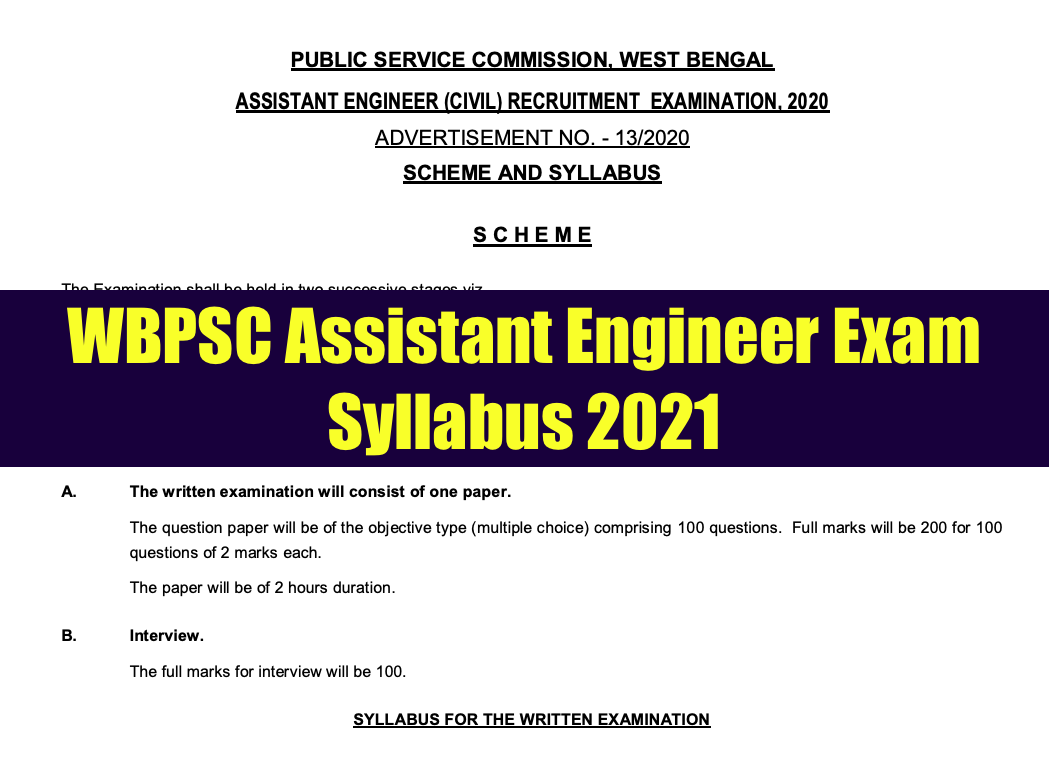 WBPSC AE Syllabus 2021 Civil Mechanical Electrical Download PDF {updated}