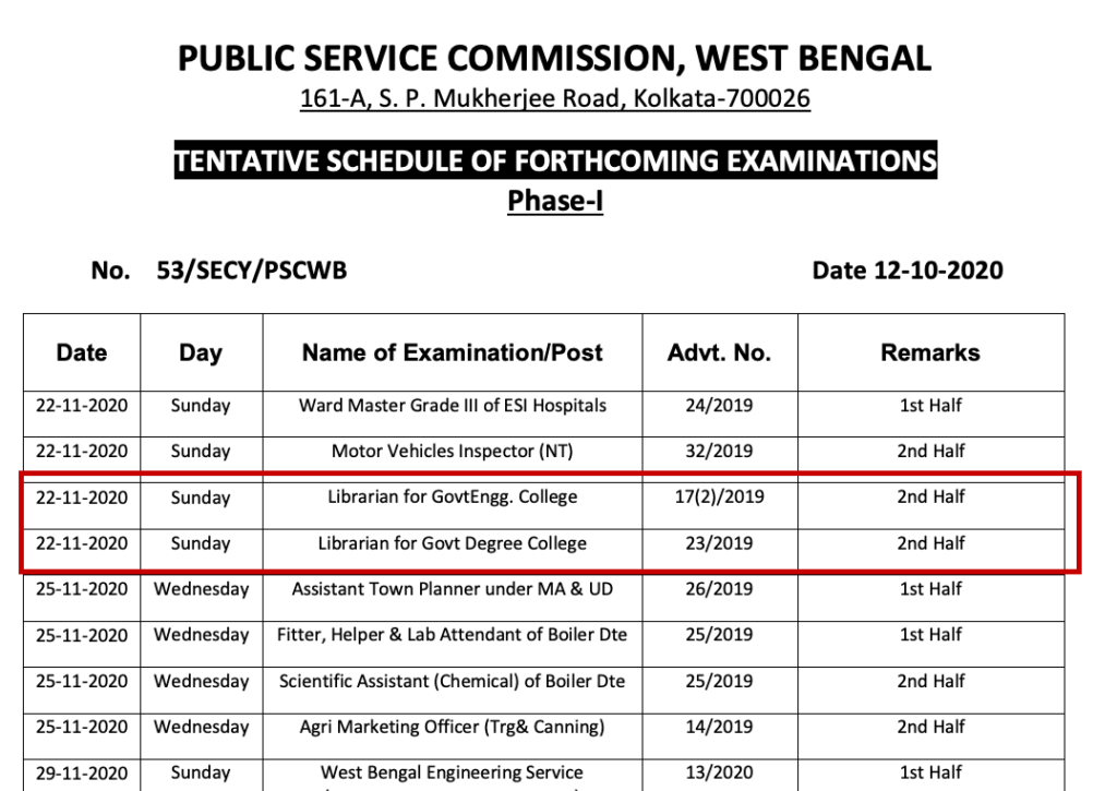 wbpsc librarian exam date 2020 download admit card tentative schedule